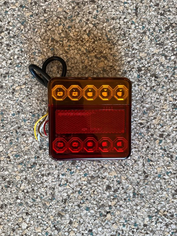 Square LED Stop/Tail/Indicator Light with 40cm Cable LEFT HAND