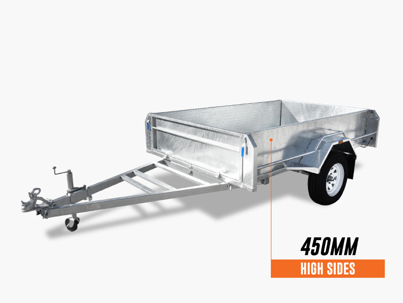 8 x 5 PREMIUM Box Tipping Trailer (Fully Welded) 450mm High Side 750kg ATM
