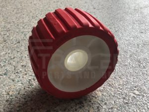 "5"" Ribbed Red Wobble Roller 26mm Bore"