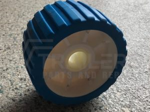 "5"" Ribbed Blue Wobble Roller 26mm Bore"