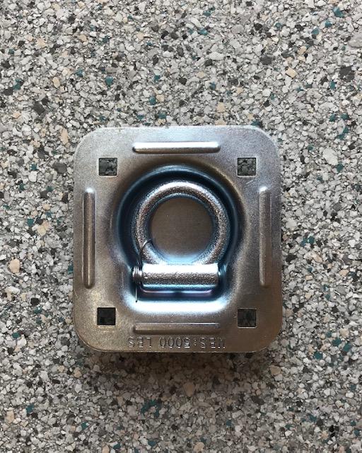 Lashing Ring (Single) Flush Mount 115mm x 125mm Zinc Rated 5000LBS