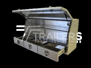 3/4 Opening Aluminium Checker Plate Tool Box with Drawers 15B