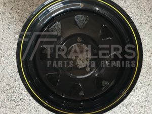14'' Ford Rim Black Powder Coated with pin stripe - 14x6.5''