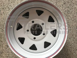 13'' Ford / HT Multi Fit Rim White Powder Coated with Pin Stripes