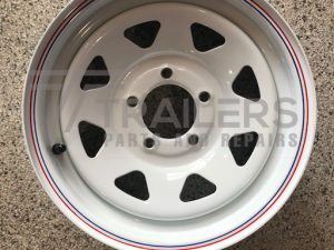 14'' HQ Rim White Powder Coated with pin stripe - 14x6.5''
