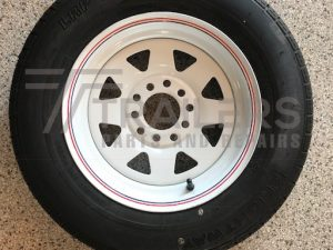 "13"" Ford/HT Multi Fit white Powder coated rim with 155/70R13 Tyre fitted"
