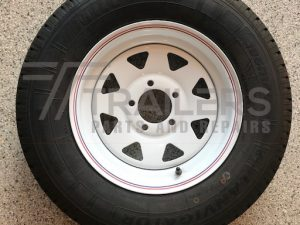 "14"" Ford white Sunraysia  rim with 185R14C Positive 14 Offset light truck tyre fitted"