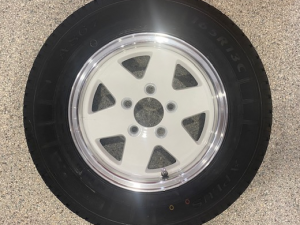 165R13 Koya Alloy White Rim and Light Truck Tyre Rated at 675kg Ford Stud